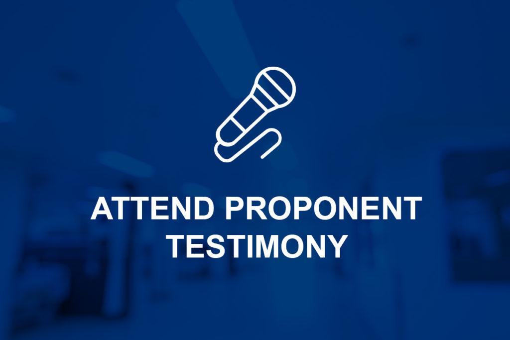 Proponent Testimony
